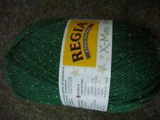 NEU 100 gr. Strickwolle REGIA 4 fädig Sockenwolle, grün mit glitzer, sonderposte