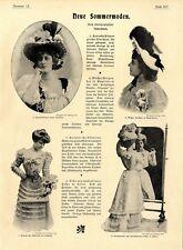 Neue Sommermoden Sommerhüte und Reisemäntel Histor. Mode der Kaiserzeit v.1899
