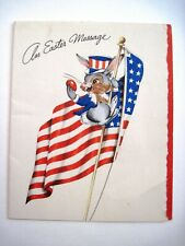 "1943 Adorable Patriotic ""Easter"" Card w/ Rabbit & Red Egg Perched on Us Flag *"