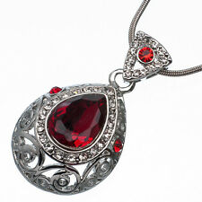7.62 Ct Pear Cut Style Shape Red Garnet / Ruby CZ 18K White Gold Plated Pendant