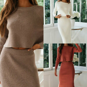 2Pcs/Set Women's Knitted Suit Solid Color Long Sleeve Sweater&Skirt Set Outfits