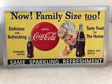 """Vintage, Original, 1955, Large, Coke """"Sprite Boy"""" Cardboard Sign in Coke Frame"""