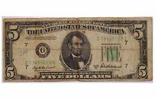 Vintage 1950 B $5 Five Dollar Bill (Serial: G73485029C) United Stated of America