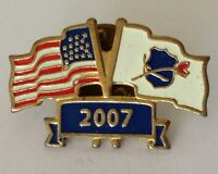 American Police Benevolent Society 2007 Twin Flag Pin Badge Rare Vintage (H2)