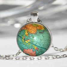 Globe Tibet silver Dome Glass Cabochon Necklace chain Pendant #212