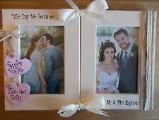 VINTAGE Personalizzato Matrimonio Regalo cornice foto doppia cornice in piedi