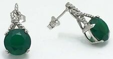 4.35 carats GREEN ONYX STUD 14k White Gold Earrings *FREE SHIPPING  & APPRAISAL