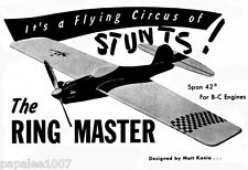"""Model Airplane Plans (UC): RINGMASTER 42"""" Stunt for .29-.35 Engines (Sterling)"""