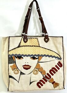 MIU MIU Natural Canvas and Leather Shopper Applique Tote Bag*GORGEOUS*