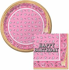 Bandana Cowgirl Happy Birthday Lunch Napkins & Plates Party Kit for 16