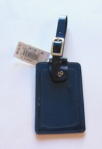 Brighton Be Wishes Luggage Tag- navy blue- leather- patent leather