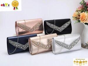 New Women's Ladies Elegant V Shape Diamante Clutch Bag Evening/Party/Wedding Bag