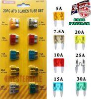 20Pcs Car Auto Assorted Standard Auto Blade Fuses ATM ATO Fuse Set 5-30A