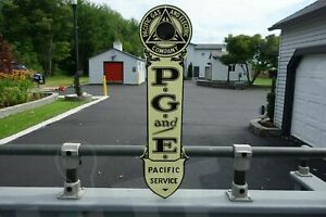PG & E-PACIFIC POWER & ELECTRIC DIE CUT HEAVY-THICK ELECTRICIAN GIFT SIGN