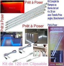 Kit Complet 220V Prêt à Poser,Rampe,Barre,Barrette,,4 x 30 cm,,, 48 Led en Blanc