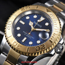41mm Parnis blue dial Sapphire Ceramic 21 jewels miyota automatic mens watch 982