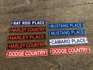 Assorted Small Repro Signs X 9 Harley Dodge Mustang