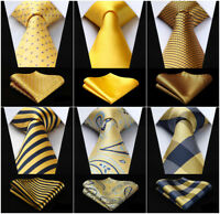 "20 Colors Yellow Gold Mens Paisley 3.4"" Silk Necktie Handkerchief Set"