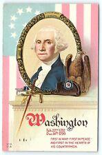 Postcard Patriotic George Washington 1918 Embossed First In War & Peace C4