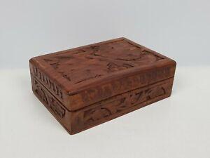 SCATOLA in legno ETNICA lavorazione artigianale PORTA CARTE GIOIE COFANETTO RARO