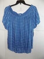 Style&co. Women's Plus Blue Off The Shoulder Top NWT Size 2X MSRP $59 A1