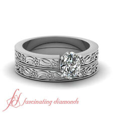 Floral Motif Solitaire Bridal Rings Set 0.50 Ct Oval Shape Very Good Cut Diamond