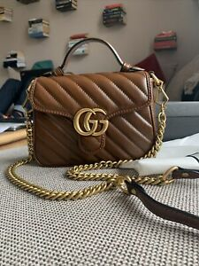 Authentic Gucci GG Marmont mini top handle bag BROWN Leather RP € 1.690
