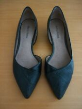 "WOMEN'S DIANA FERRARI ""PRANCE"" BLACK LEATHER LOW WEDGE HEEL SHOES - SIZE 5.5"
