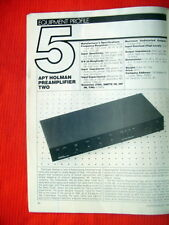 "Apt Holman Preamplifier Two test review ""Audio"" magazine 8/85"