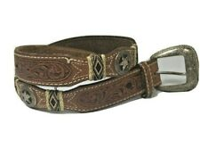 Vintage Tony Lama  Western Brown Leather Lone Star and Studs Belt