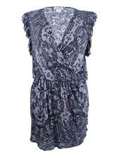Chelsea Sky Women's  sky Lace-Print Ruffled Dress (S, Black)