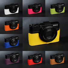Real Leather half Camera Case bag for SONY RX100 V II III IV MARK V 10 colors