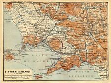 Antique map Naples Italy / mappa Napoli Italia 1929