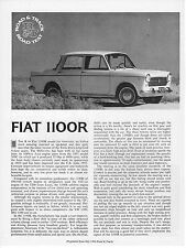 Fiat 1100R Road Test by Road & Track magazine July  1966 NOS