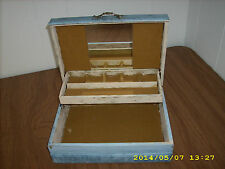 Vintage Decorative Jewelry Trinket Box blue with 50's style vacation pictures