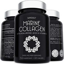 Marine Collagen Supplement 2400mg - 120 Tablets with Hyaluronic Acid & Vitamin C