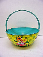1930s Chein & Co. Large Tin Litho Nursery Rhyme Easter Basket