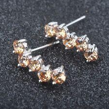 New Brown Morganite Gemstone For Women Silver Jewelry Stud Earrings PE043