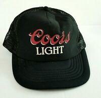 1980s Coors Light Black  MESH Foam Snapback Trucker Hat Baseball Cap