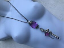 CAPIZ STUNNING HEAVY CHUNKY LONG SILVER LARGE PURPLE CRYSTAL SNAKE WOW NECKLACE