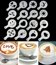 16 Latte Art Stencils Templates Cappuccino Coffee Foam DIY Decorating Tools Cake