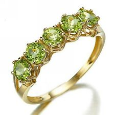 Size 7 Round Cut 18K Gold Filled Peridot Womens Fashion Anniversary Rings Gift