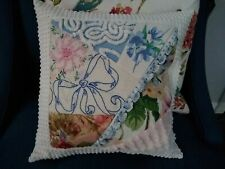 VINTAGE LINEN CRAZY QUILT PILLOW W/ EMBROIDERED FLOWERS CROCHETED LACE 16""