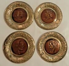 4 Vtg Solid Brass Composer Pictures Tchaikovsky Beethoven Chopin Liszt England