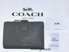 NWT COACH 11484 Medium Corner Zip ID Wallet Coin Purse Crossgrain Leather Grey