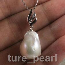huge 20 mm white baroque keshi reborn southsea pearl pendant necklace 925s