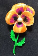 "Vintage Hand Painted Pansy Flower Brooch Pin 2 1/2"" Flower 1 1/4"" Round Pearl"