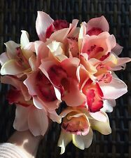 Luxury Artificial Silk Flowers Cymbidium Orchid Hand Tie In A Coral/peach Shade