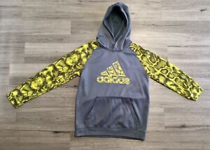 Adidas Gray And Yellow Hoodie Size Large 14-16