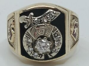 Mens 10k & 14k Solid Gold .35tcw Natural Diamond Shriners Vintage Ring Size 9.75